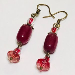 Dark Red Jade & Raspberry Quartz Earrings